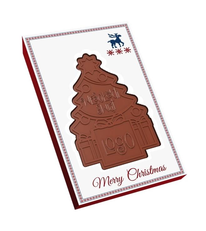 Suklaa joulukuusi lahjapakkauksessa