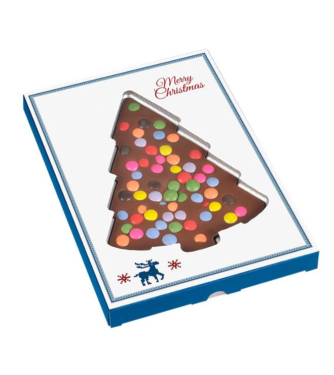 Suklaa joulukuusi värikkäillä suklaarakeilla